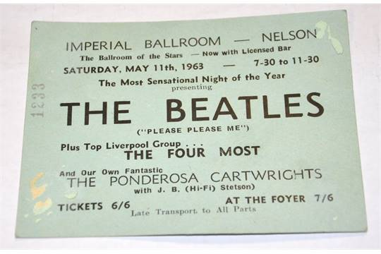 The Beatles; A ticket for the Imperial Ballroom Nelson, Saturday ...