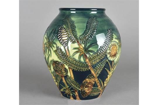 A large Moorcroft potter ovoid vase, tube-lined Amazon