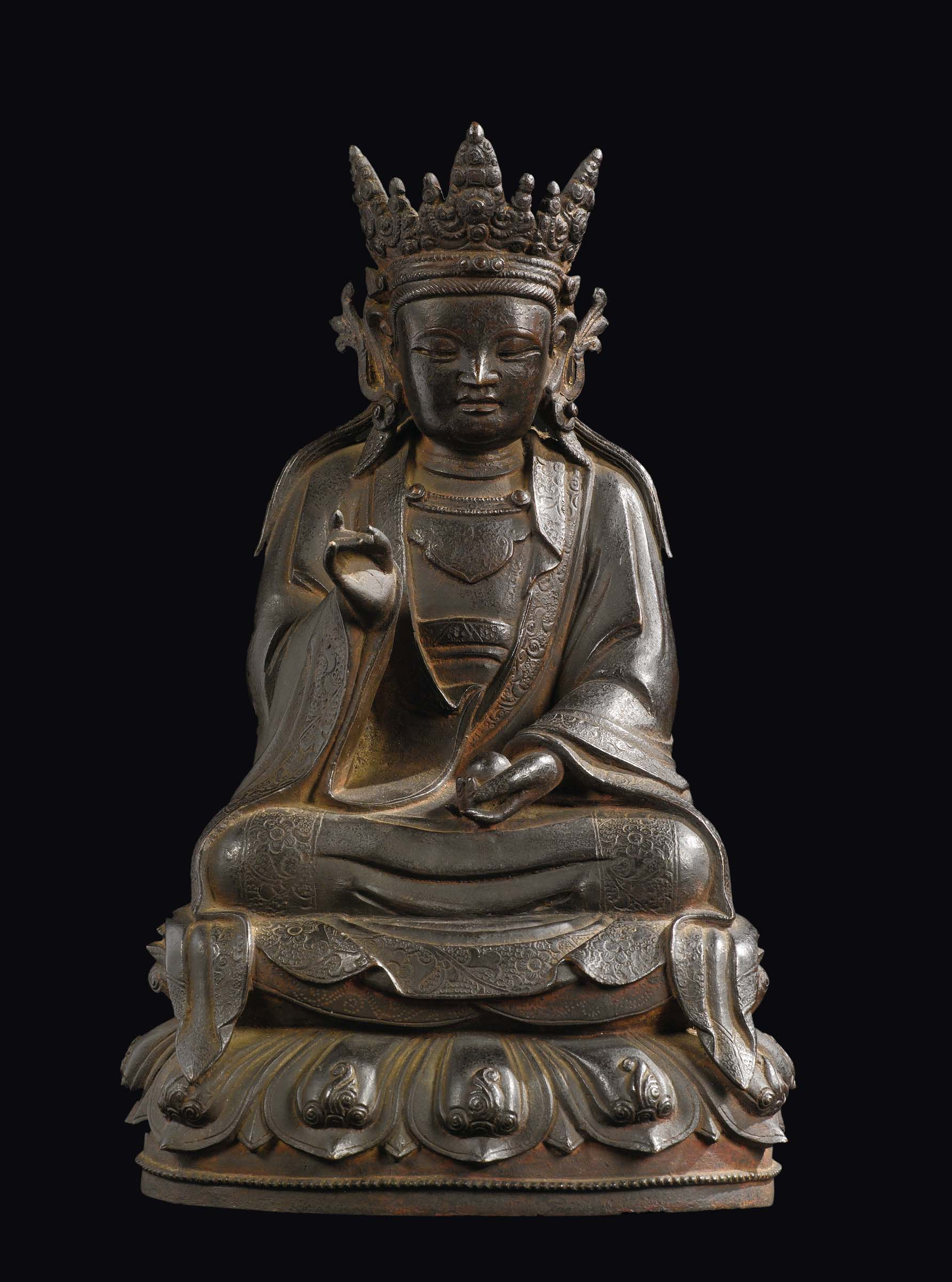 A bronze figure of crowned buddha with fruit on lotus flower china lot 266 a bronze figure of crowned buddha with fruit on lotus flower china izmirmasajfo