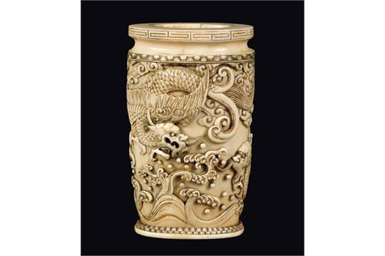A Carved Ivory Vase With Two Dragons In Relief China Qing Dynasty