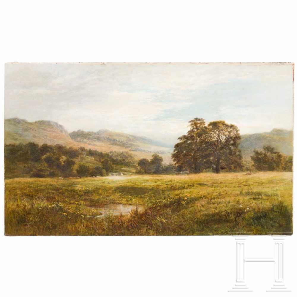 Robert Gallon (1845 – 1925) – an English landscape, dated 1882Öl auf Leinwand. Sumpfiger Talgrund