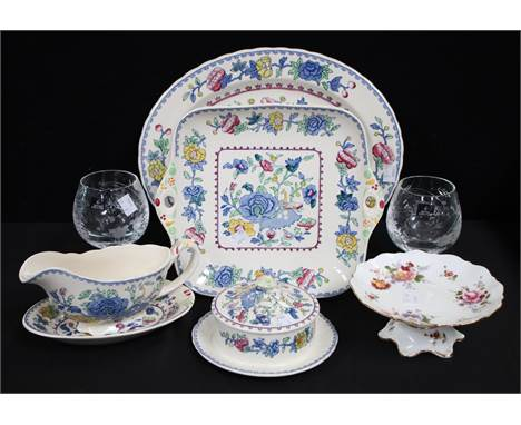 Ceramics and Glass - Masons Ironstone Regency pattern oval platter; sandwich tray, Gravy boat and stand etc; Royal Crown Derb