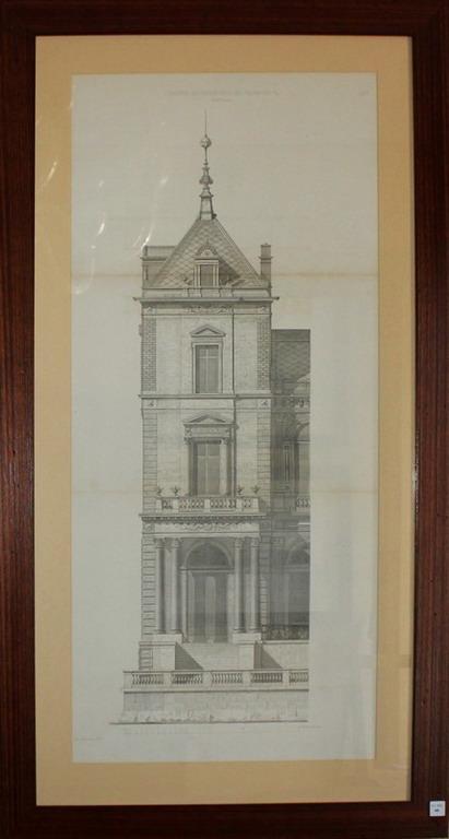 Lot 46 - Litografia architettonica di palazzo Austroungarico, cm. 40x87