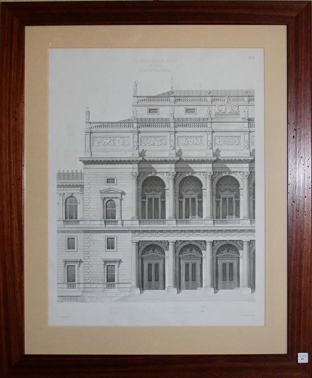 Lot 47 - Litografia architettonica del palazzo Die Neue Wiener Borse, cm. 43x55