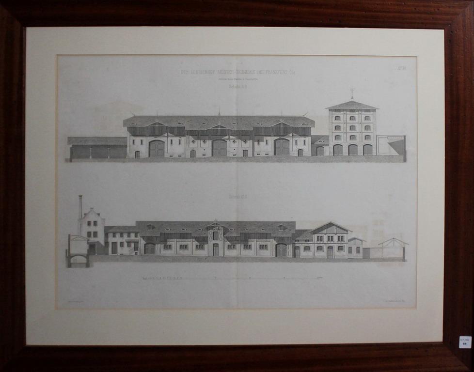 Lot 54 - Litografia architettonica del palazzo Der Luisenhof Muster-Okonomie Bei Frankfurt, cm. 57x42