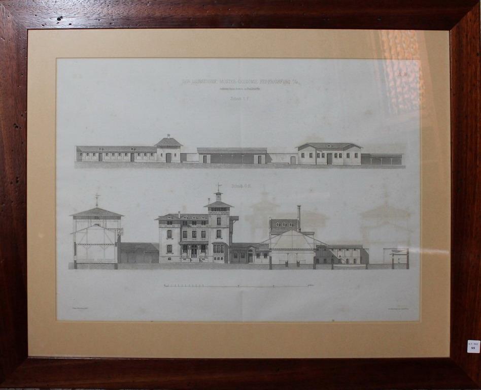 Lot 55 - Litografia architettonica del palazzo Der Luisenhof Muster-Okonomie Bei Frankfurt, cm. 57x42