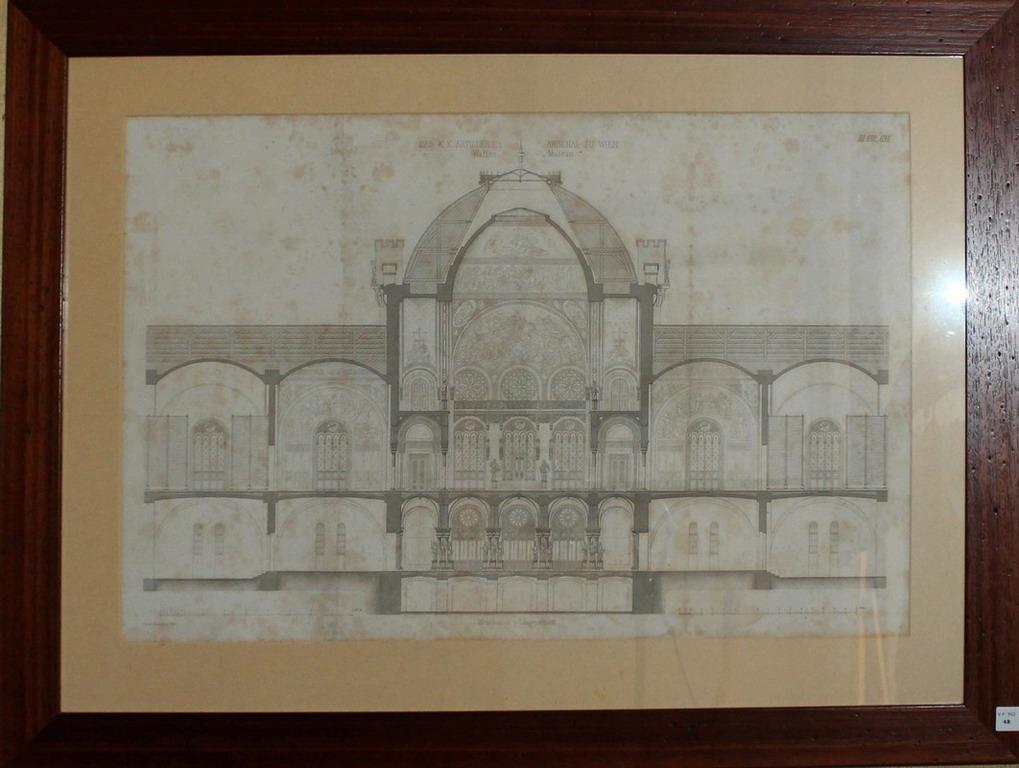 Lot 48 - Litografia architettonica del palazzo Das K K Artillerie Arsenal Wien, cm. 63x43