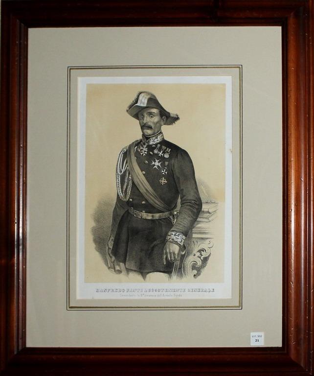 Lot 21 - Ritratto Manfredo Fanti Luogotenente, Litografia su fondo seppia, Pistolesi Saverio 1859, cm. 30x20