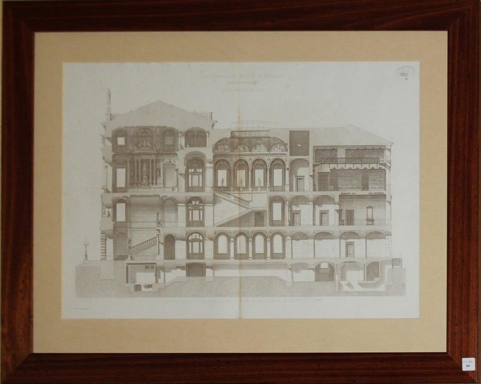 Lot 50 - Litografia architettonica del palazzo Ploytechnische Scule in Munichen, della collezione Giuseppe