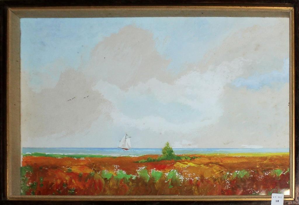 Lot 18 - Costa del Gargna 1969, dipinto ad olio, Ugonia Luigi, cm. 46x30