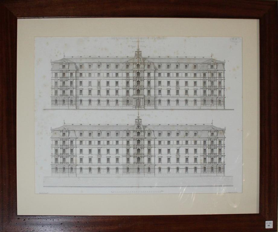 Lot 45 - Litografia architettonica del palazzo Das Koniglche Militar Hospital Zu Dresden, della collezione