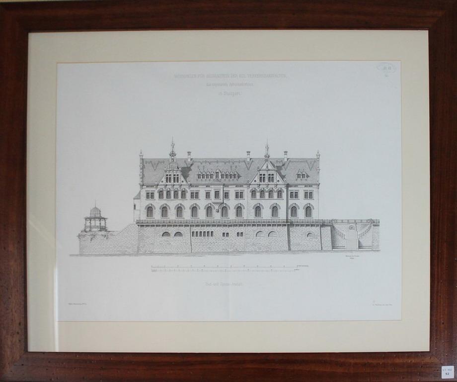 Lot 52 - Litografia architettonica del palazzo Wounungen Fur Bedirnstette Der Kol Verkehsanstalten in