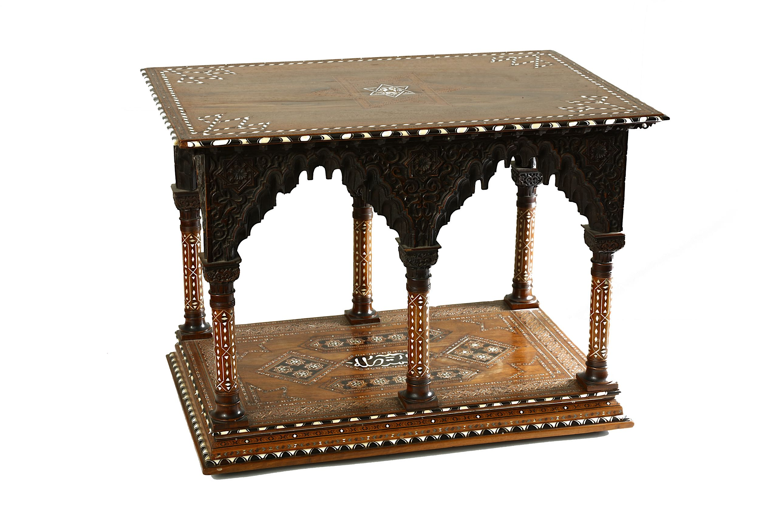 Lot 41 - AN HISPANO-MORESQUE BONE AND HARDWOOD-INLAID VARGUENO WITH SUPPORTING DESK.