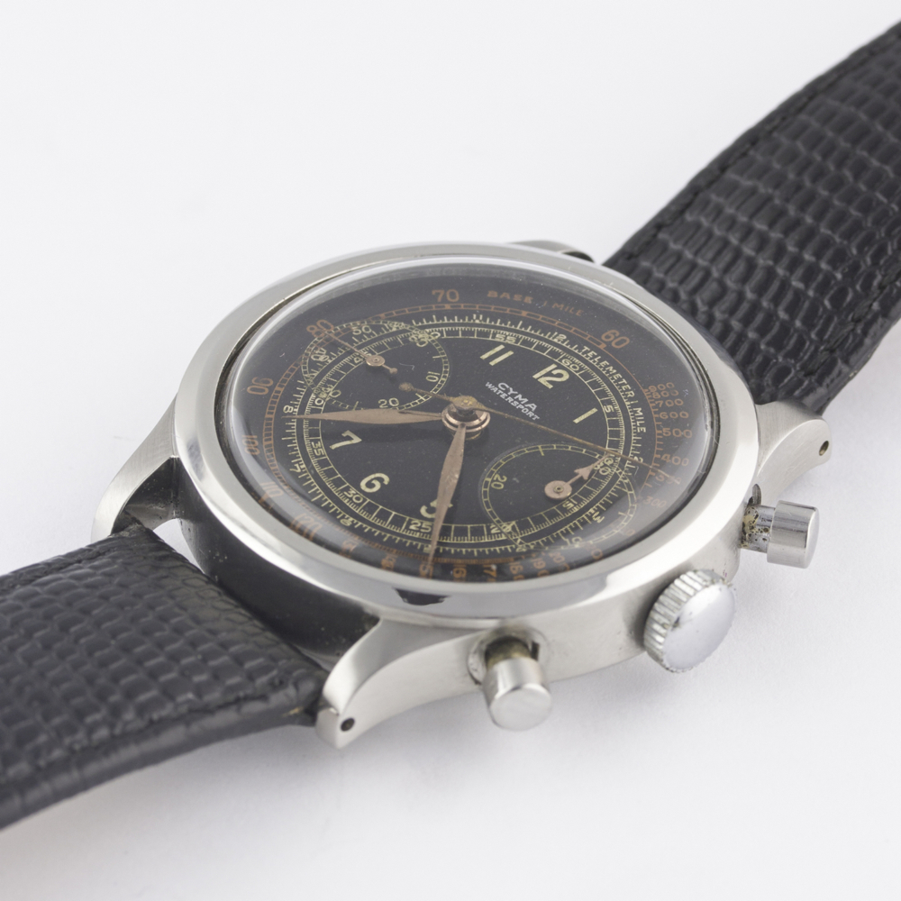 "A RARE GENTLEMAN'S LARGE SIZE STAINLESS STEEL CYMA WATERSPORT ""CLAMSHELL"" CHRONOGRAPH WRIST WATCH - Image 5 of 13"