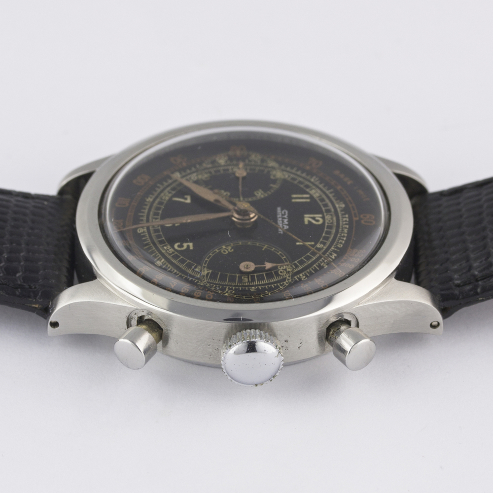 "A RARE GENTLEMAN'S LARGE SIZE STAINLESS STEEL CYMA WATERSPORT ""CLAMSHELL"" CHRONOGRAPH WRIST WATCH - Image 11 of 13"