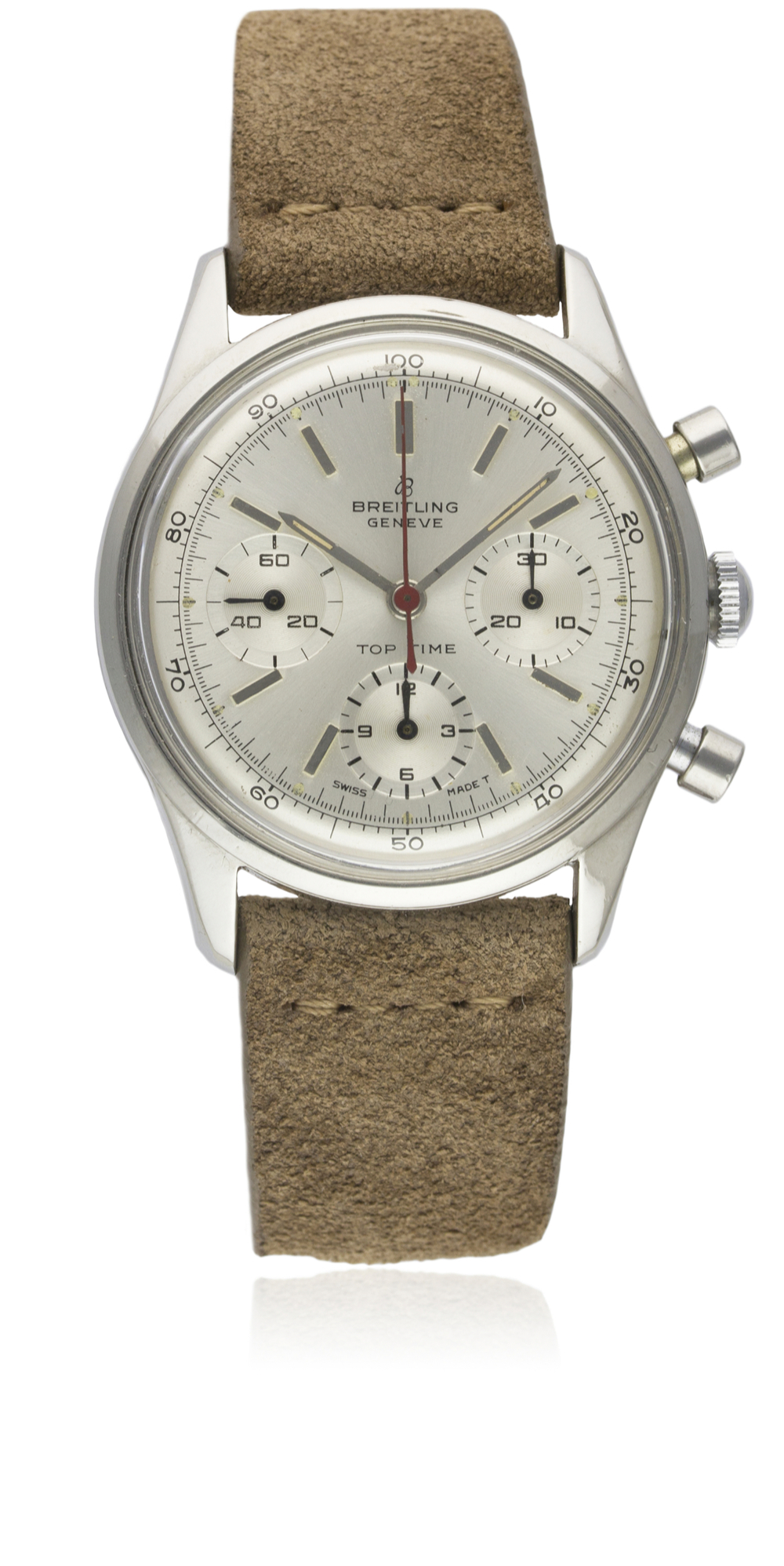 A VERY RARE GENTLEMAN'S STAINLESS STEEL BREITLING TOP TIME CHRONOGRAPH WRIST WATCH CIRCA 1964, - Image 3 of 10