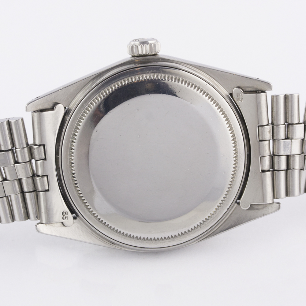 A RARE GENTLEMAN'S STEEL & WHITE GOLD ROLEX OYSTER PERPETUAL DATEJUST BRACELET WATCH CIRCA 1965, - Image 9 of 13