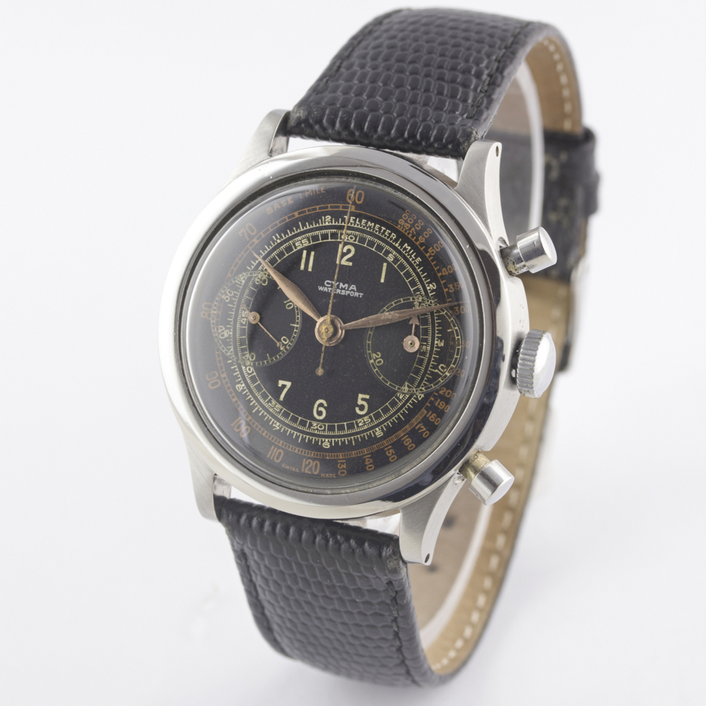 "A RARE GENTLEMAN'S LARGE SIZE STAINLESS STEEL CYMA WATERSPORT ""CLAMSHELL"" CHRONOGRAPH WRIST WATCH - Image 6 of 13"