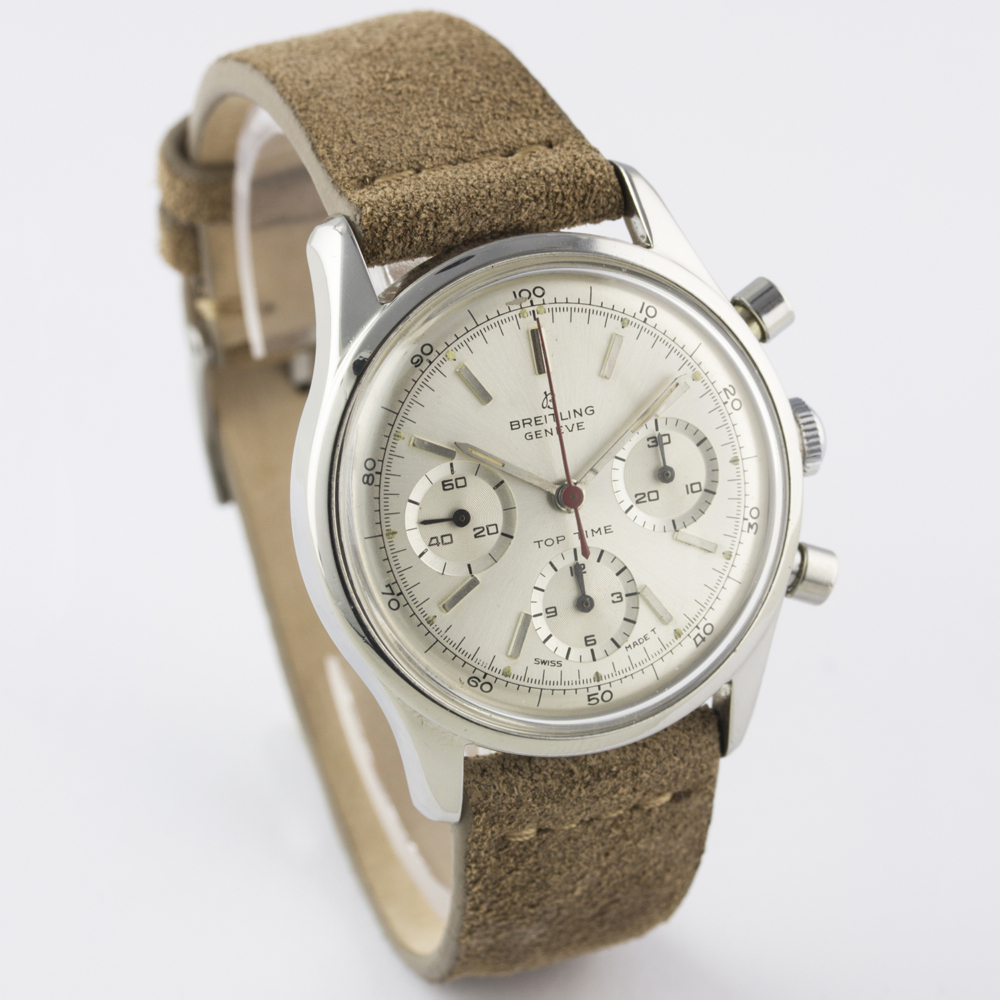 A VERY RARE GENTLEMAN'S STAINLESS STEEL BREITLING TOP TIME CHRONOGRAPH WRIST WATCH CIRCA 1964, - Image 7 of 10