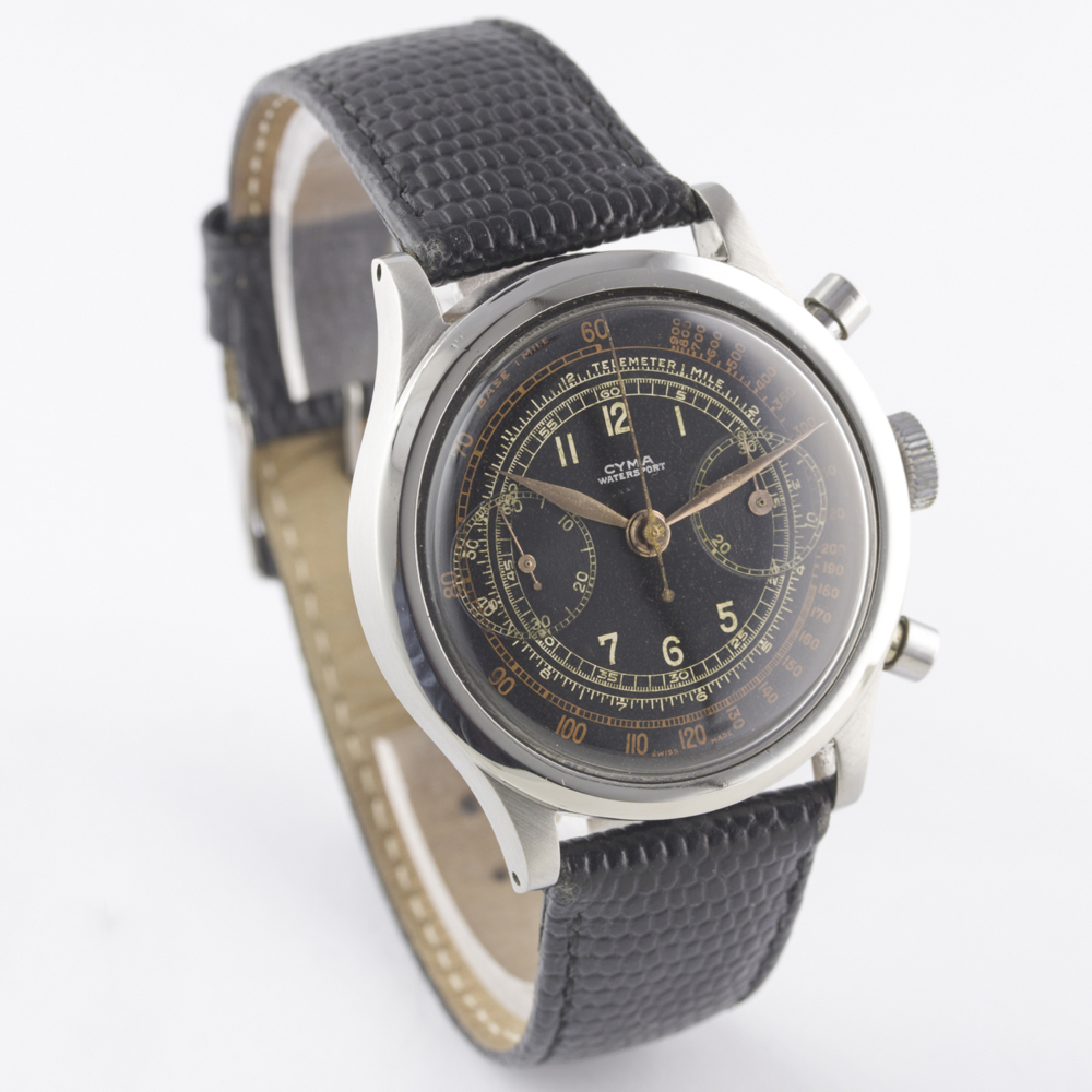 "A RARE GENTLEMAN'S LARGE SIZE STAINLESS STEEL CYMA WATERSPORT ""CLAMSHELL"" CHRONOGRAPH WRIST WATCH - Image 7 of 13"
