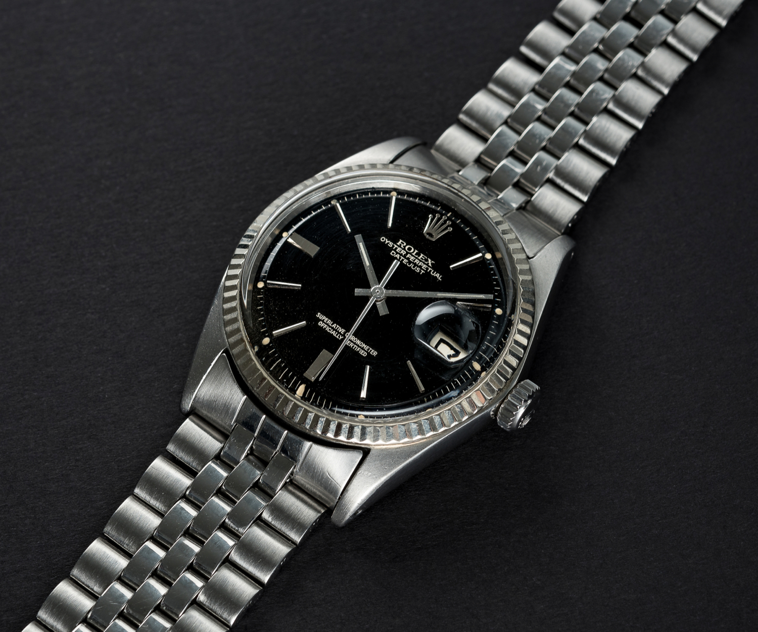 A RARE GENTLEMAN'S STEEL & WHITE GOLD ROLEX OYSTER PERPETUAL DATEJUST BRACELET WATCH CIRCA 1965, - Image 2 of 13