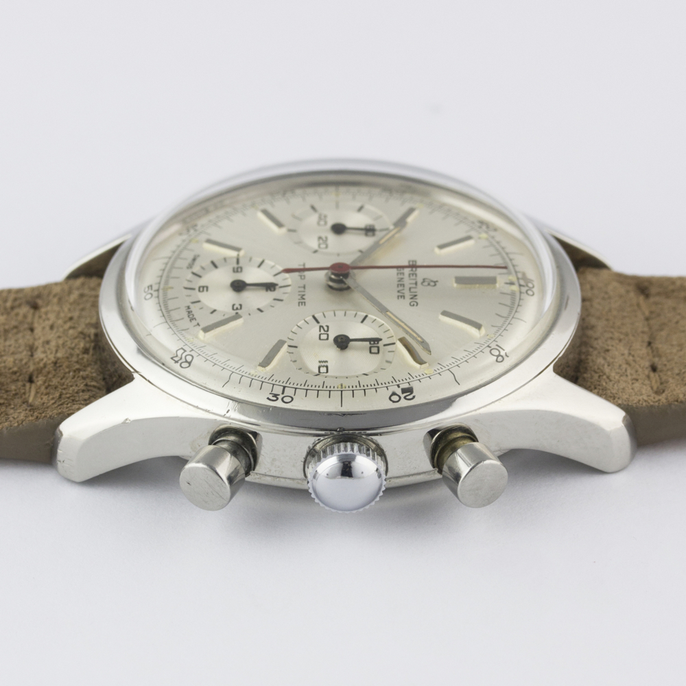 A VERY RARE GENTLEMAN'S STAINLESS STEEL BREITLING TOP TIME CHRONOGRAPH WRIST WATCH CIRCA 1964, - Image 9 of 10