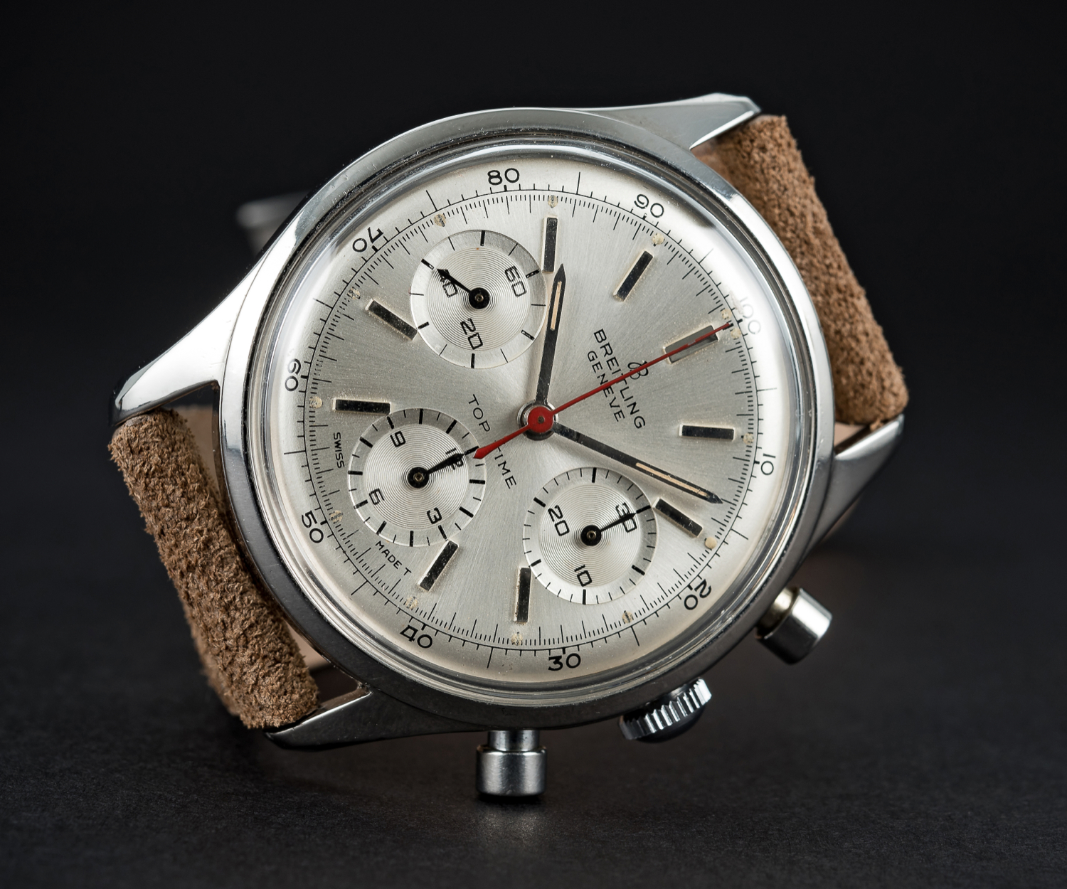 A VERY RARE GENTLEMAN'S STAINLESS STEEL BREITLING TOP TIME CHRONOGRAPH WRIST WATCH CIRCA 1964, - Image 2 of 10