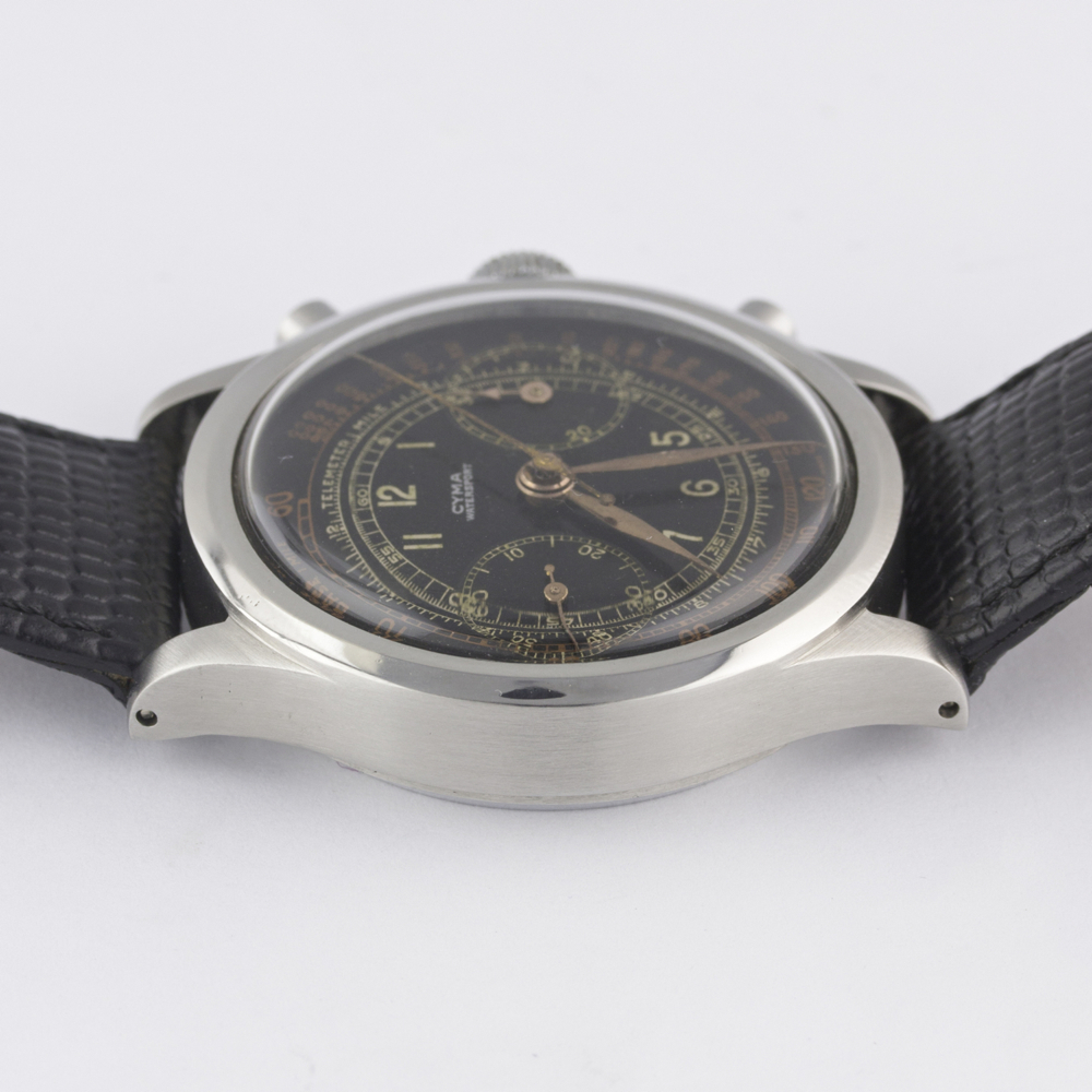 "A RARE GENTLEMAN'S LARGE SIZE STAINLESS STEEL CYMA WATERSPORT ""CLAMSHELL"" CHRONOGRAPH WRIST WATCH - Image 12 of 13"