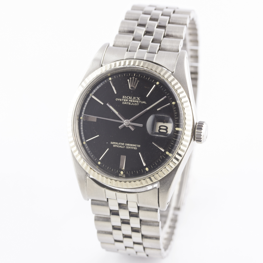 A RARE GENTLEMAN'S STEEL & WHITE GOLD ROLEX OYSTER PERPETUAL DATEJUST BRACELET WATCH CIRCA 1965, - Image 6 of 13