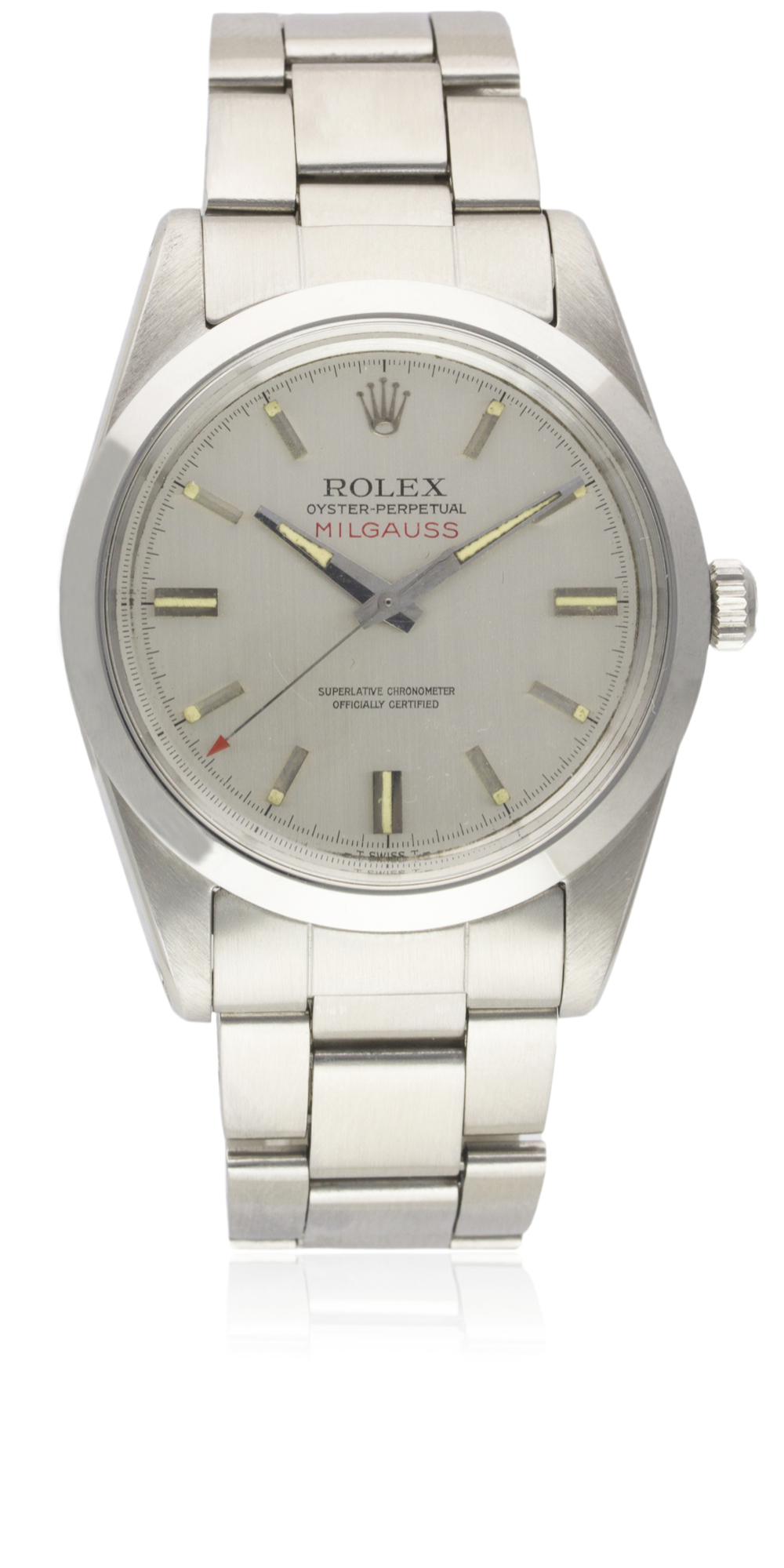 A RARE GENTLEMAN'S STAINLESS STEEL ROLEX OYSTER PERPETUAL MILGAUSS BRACELET WATCH CIRCA 1968, REF. - Image 3 of 3