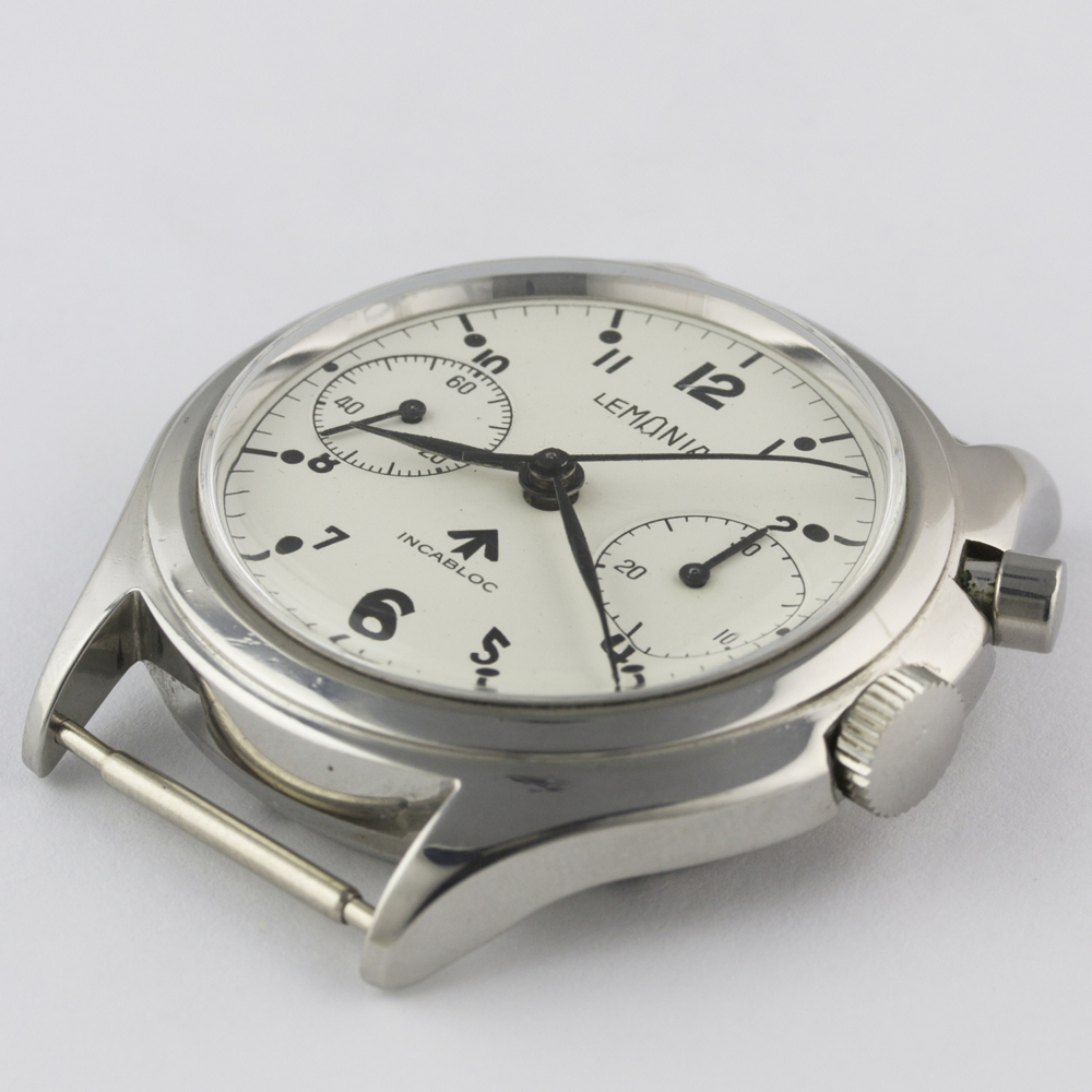 A VERY RARE GENTLEMAN'S STAINLESS STEEL BRITISH MILITARY LEMANIA SINGLE BUTTON ROYAL NAVY NUCLEAR - Image 5 of 10