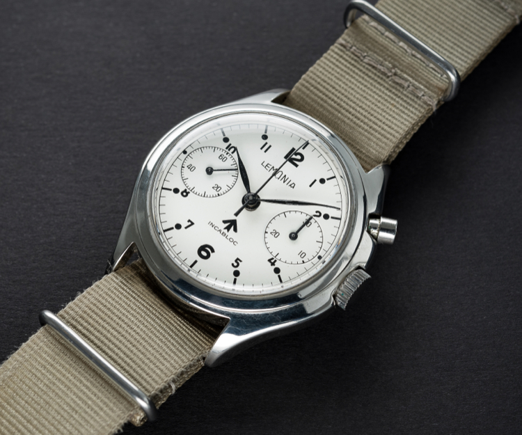 A VERY RARE GENTLEMAN'S STAINLESS STEEL BRITISH MILITARY LEMANIA SINGLE BUTTON ROYAL NAVY NUCLEAR