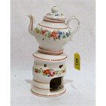Lot 148 - A 19th century French veilleuse teapot on burner stand, painted in colours with bands of wild