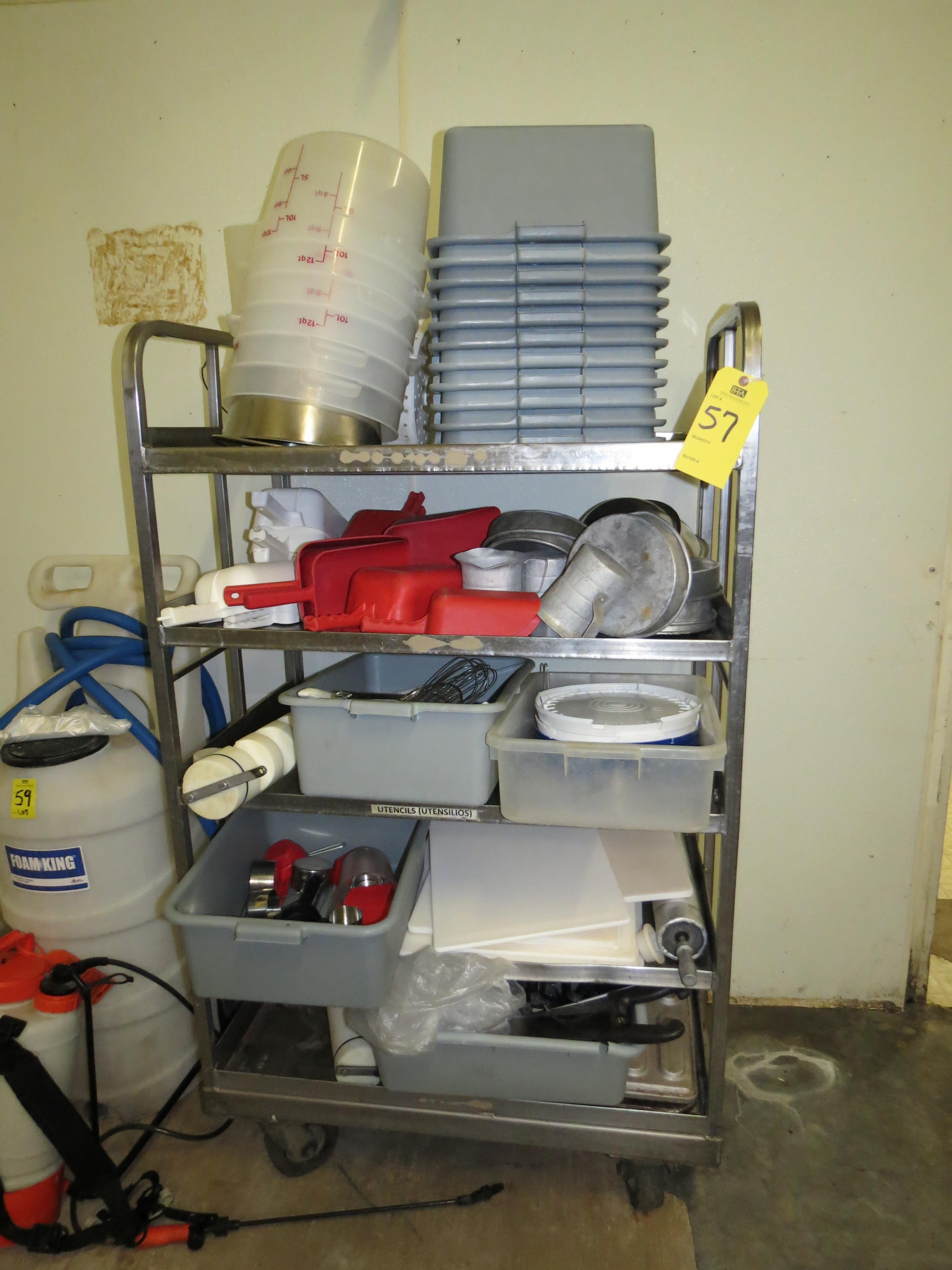 Lot 57 - LOT STAINLESS STEEL RACK AND CONTENTS SCOOPS, CUTTING BOARDS & MEASURING TUBS