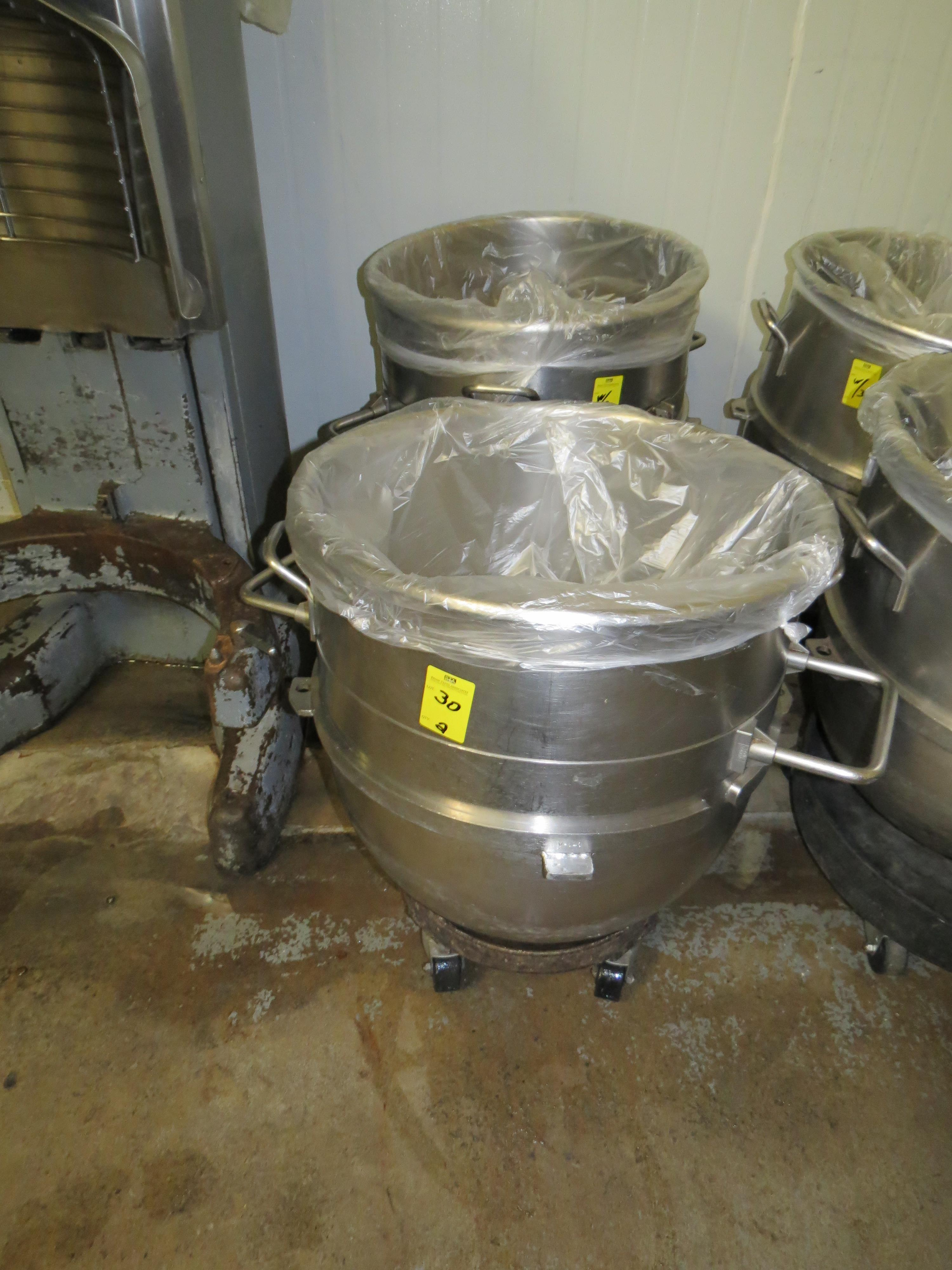 STAINLESS STEEL HOBART MIXING BOWLS 40 GALLLON