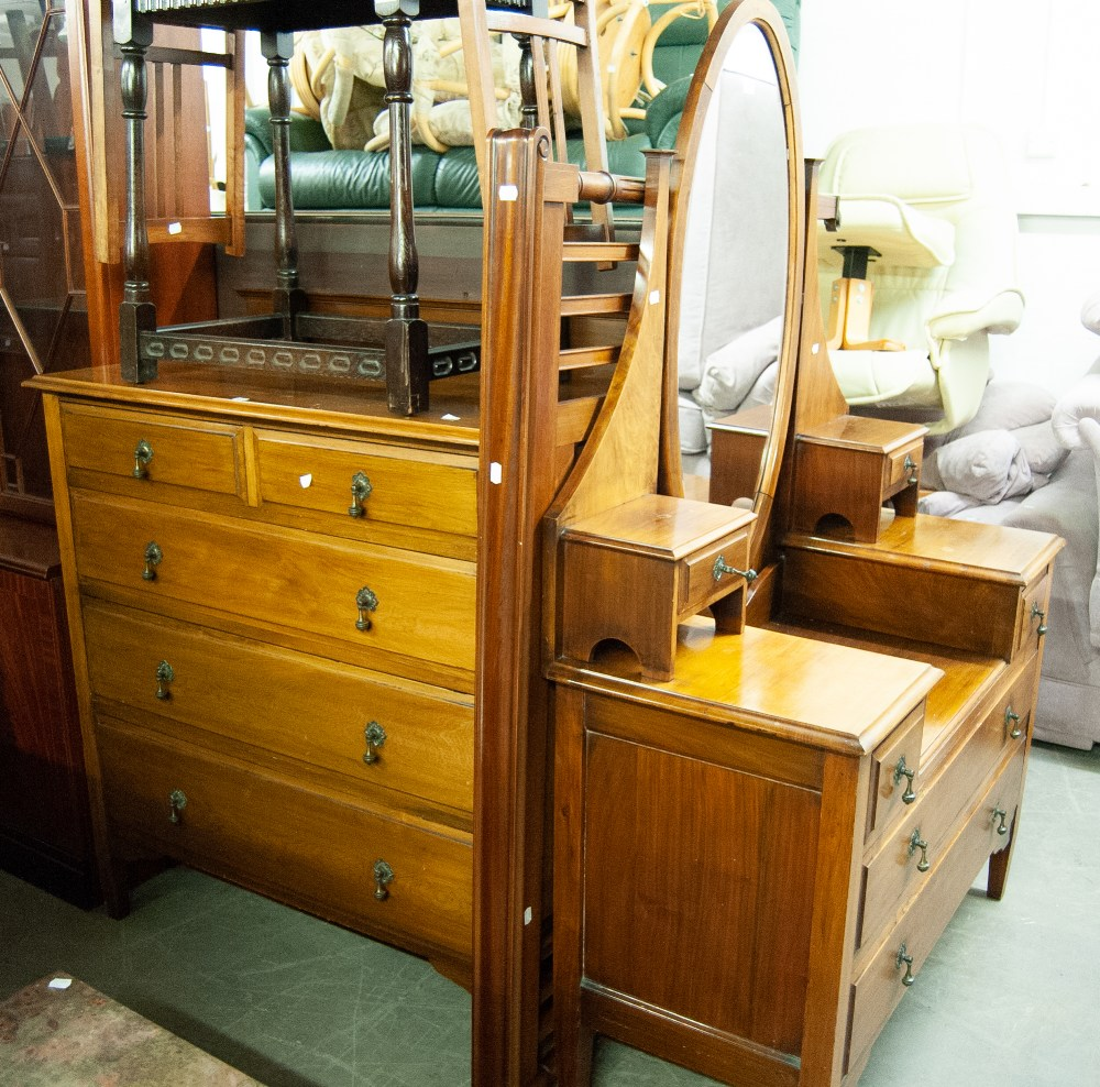 Lot 18 - QUALITY VICTORIAN MAHOGANY CHEST OF DRAWERS AND MATCHING DRESSING TABLE WITH OVAL SWING MIRROR