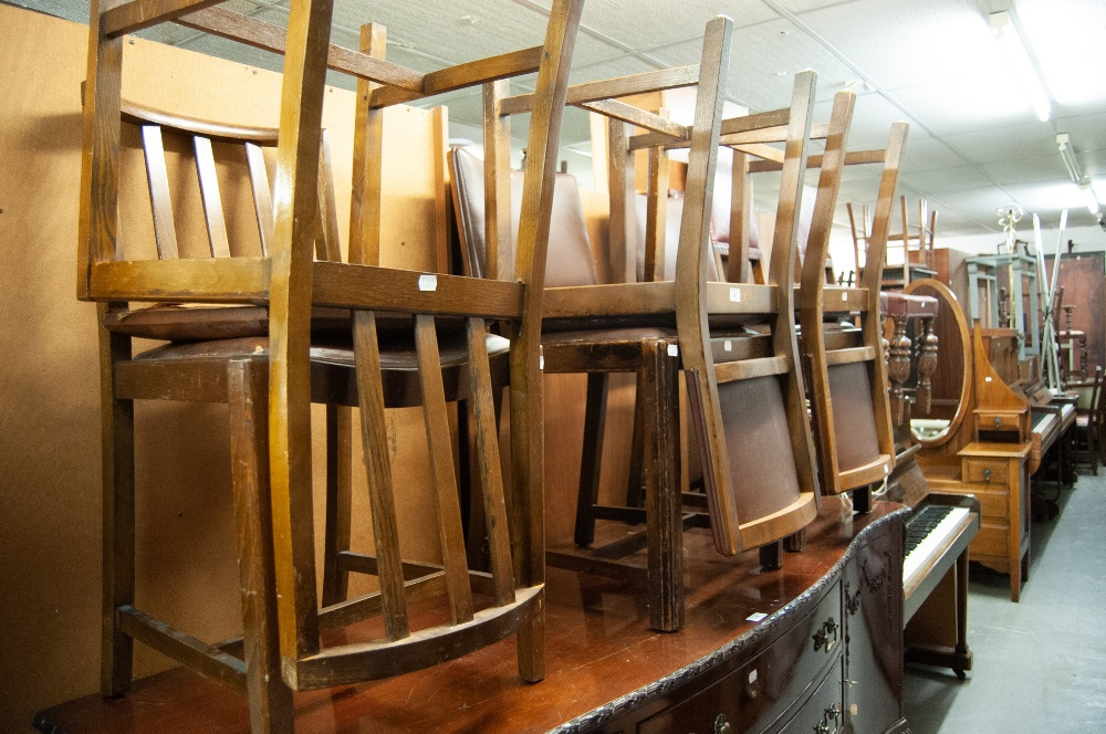 Lot 41 - FOUR DINING CHAIRS WITH PAD BACK AND SEAT AND TWO OTHERS (6)