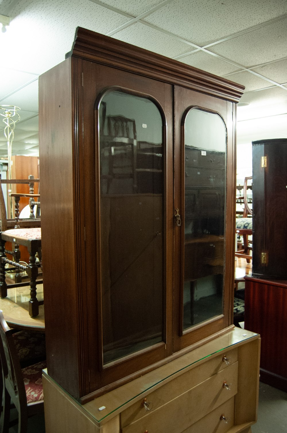 Lot 35 - MAHOGANY SUPERSTRUCTURE BOOKCASE