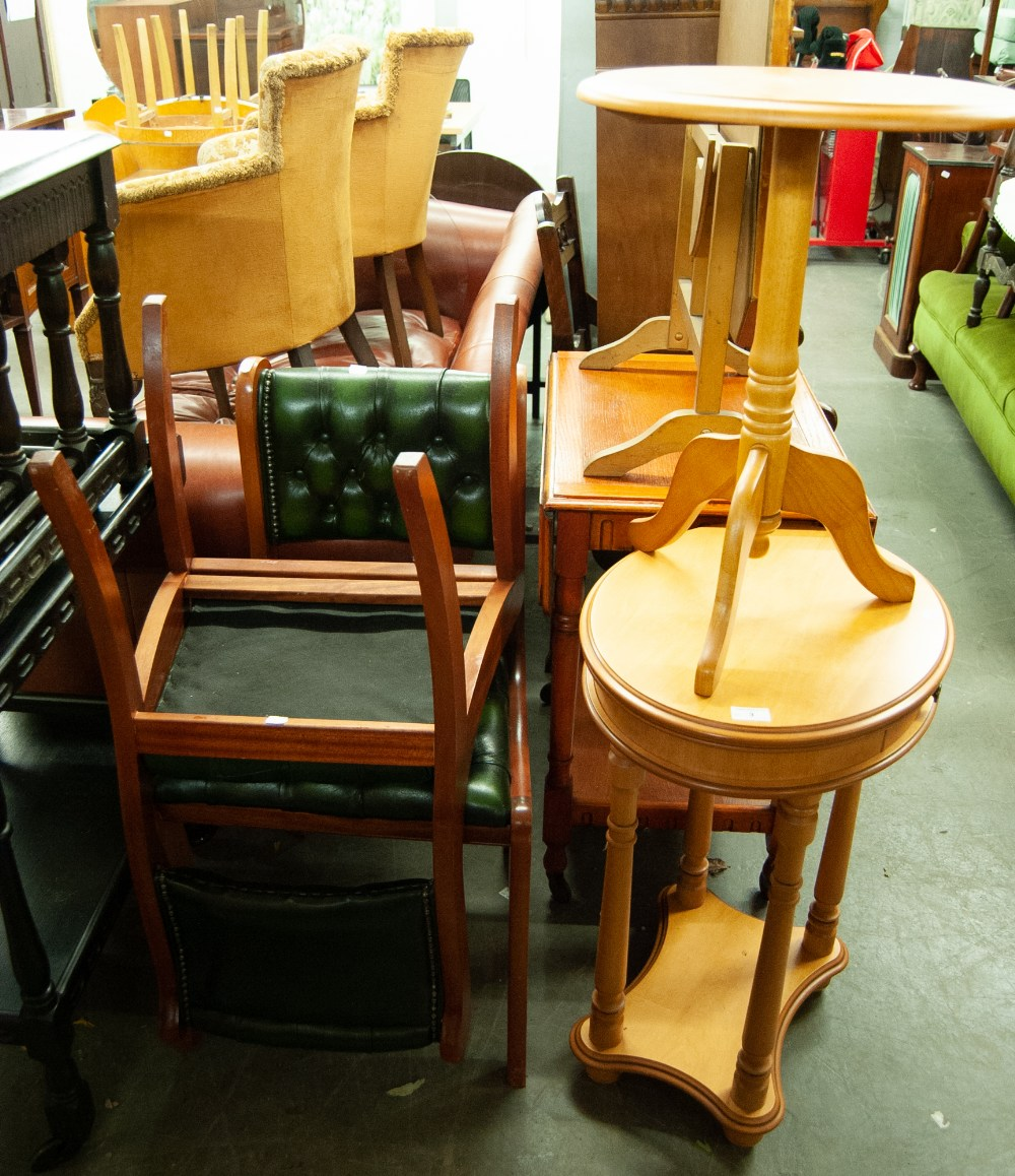 Lot 3 - A PAIR OF MODERN SIDE CHAIRS WITH GREEN LEATHER BUTTON BACK AND SEAT, A LIGHT WOOD WINE TABLE AND