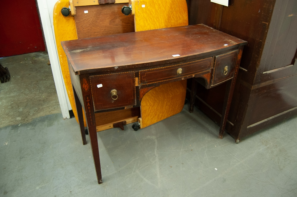Lot 68 - A NINETEENTH CENTURY INLAID MAHOGANY SHALLOW BOW FRONT SIDE TABLE, WITH THREE DRAWERS (A.F.)