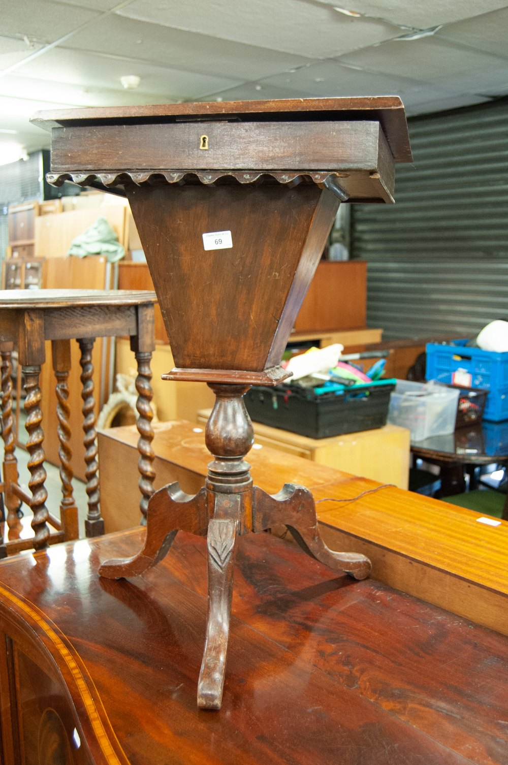 Lot 69 - A LATE VICTORIAN BEECHWOOD TRIPOD SEWING TABLE