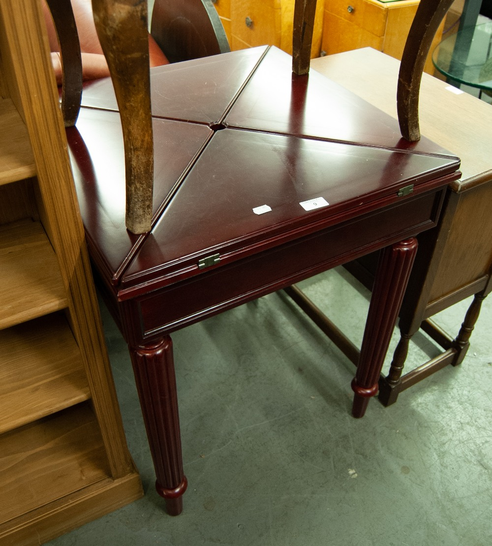 Lot 9 - A MODERN RED MAHOGANY ENVELOPE CARD TABLE, A DARK OAK TABLE WITH SINGLE DRAWER