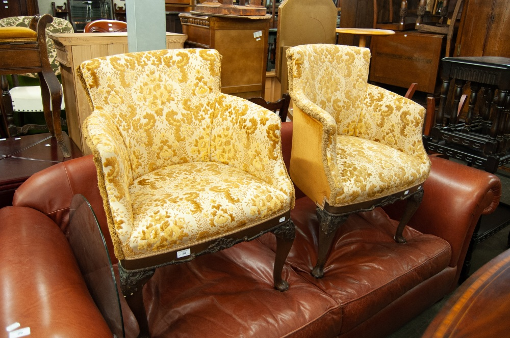 Lot 30 - TWO UPHOLSTERED TUB CHAIRS, RAISED ON OAK LEGS WITH CARVING TO THE FRONT (2)