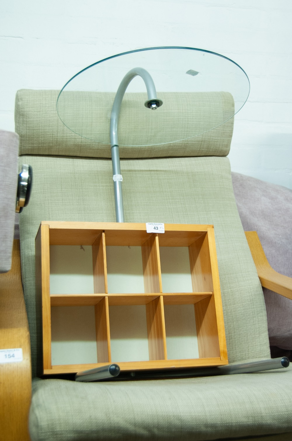 Lot 43 - A SET OF MODERN PINE SIX CHUBBY STORAGE SHELVES, A MODERN RETRO-STYLE COFFEE TABLE of circular glass