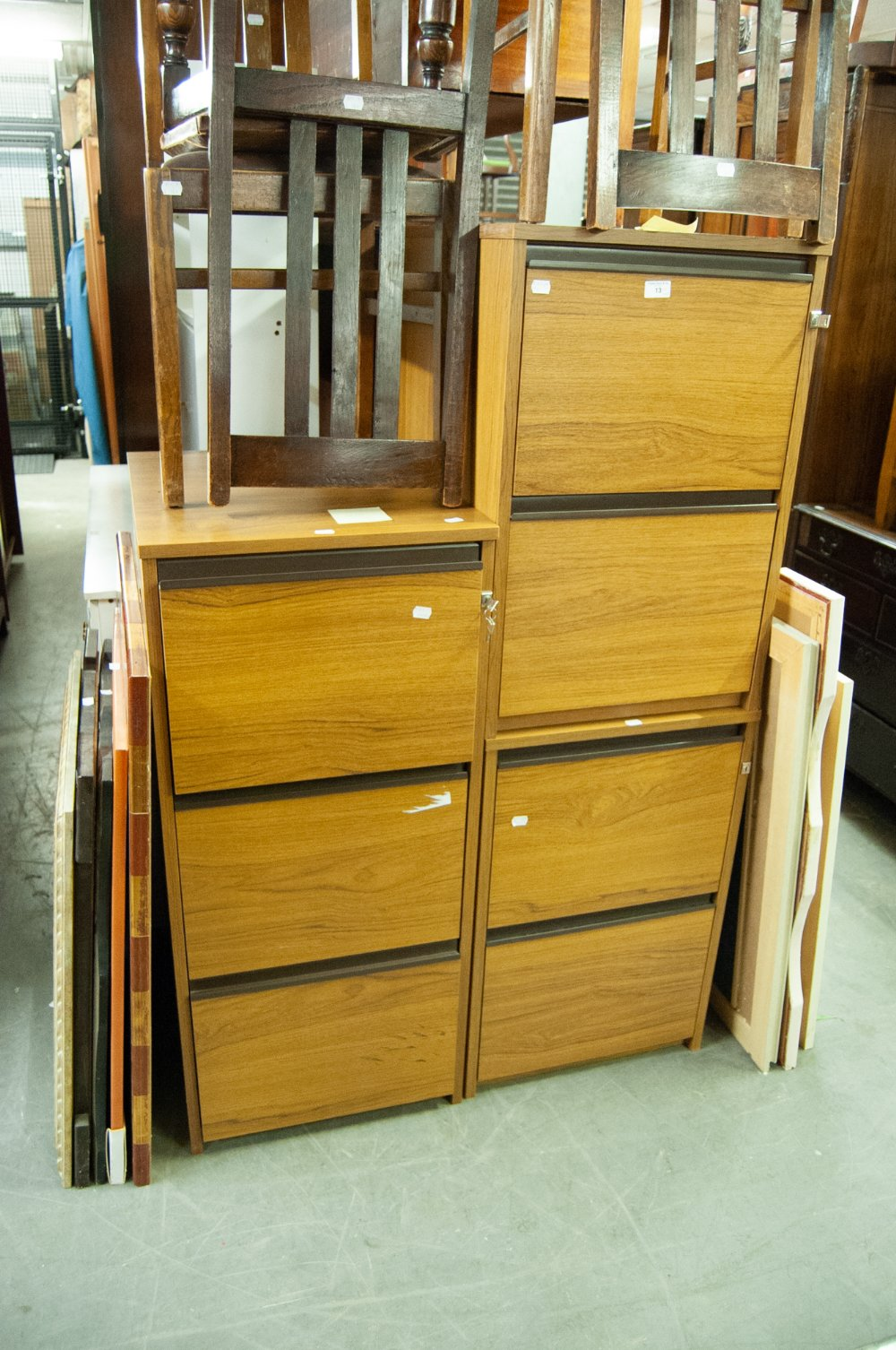 Lot 13 - A TEAK FINISH THRE DRAWER FILING CABINET AND TWO TWO-DRAWER DITTO (3)