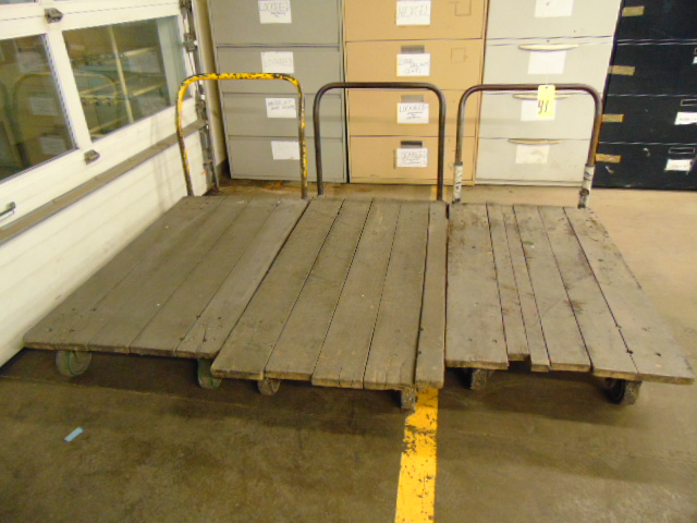 "Lot 41 - LOT OF PLATFORM CARTS (3), 56"" x 30"""
