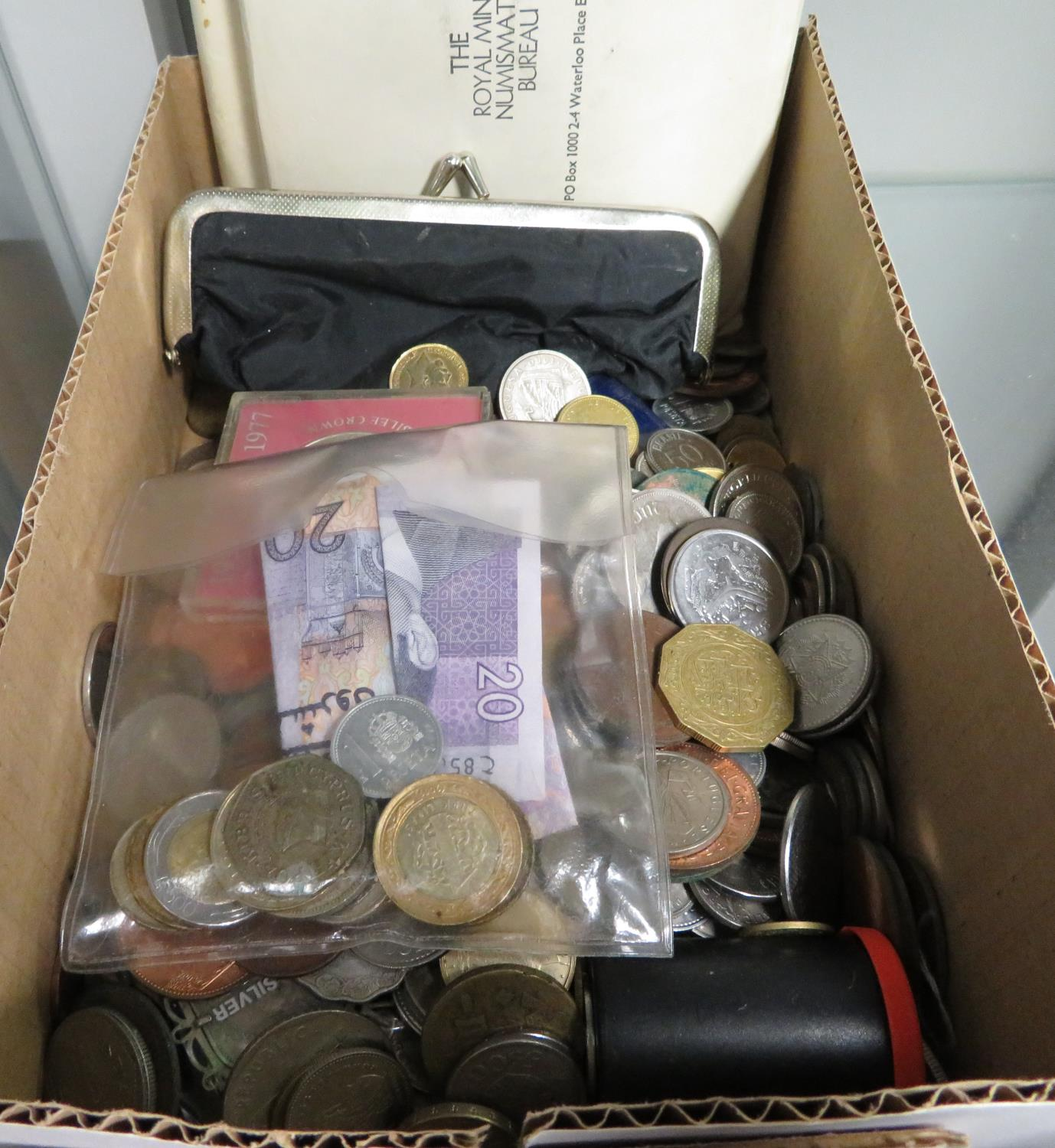 Lot 33 - Large box of coins and some paper money