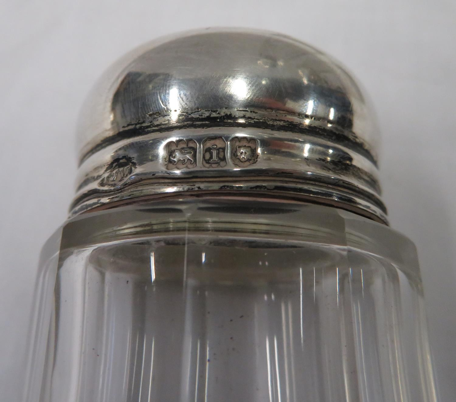 Lot 4 - 3x silver topped glass bedroom jars