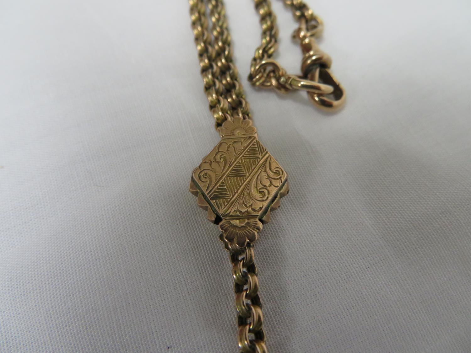 Lot 27 - 9ct gold Albertina Victorian watch chain - 17.9 grams