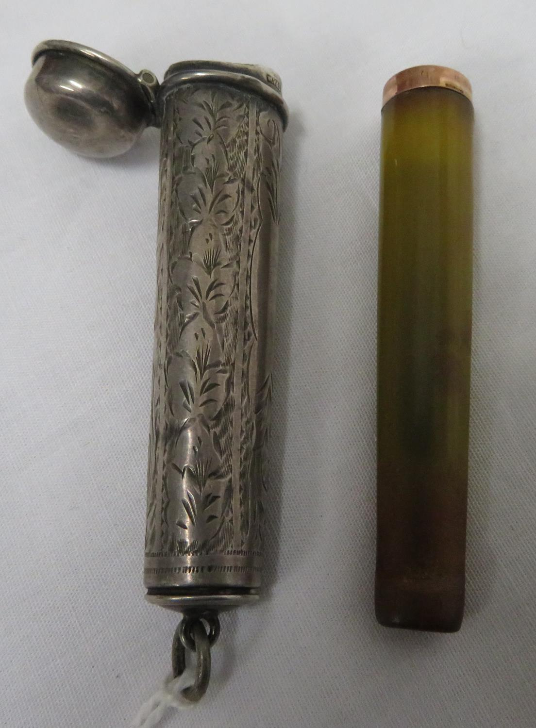 Lot 20 - Hallmarked silver cheroot holder with 9ct gold and amber cheroot